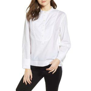 J. Crew Women's Cotton Tuxedo Popover Top White M